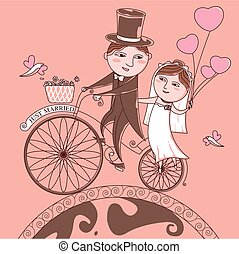 Vector The bride and groom on a bicycle on a background