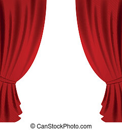 Vector Theater Curtain - Vector Illustration of a Red ...