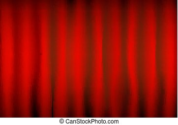 vector Theater red curtain with spot lighting