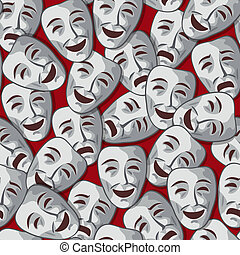 Vector seamless pattern with merry and sad theatrical masks