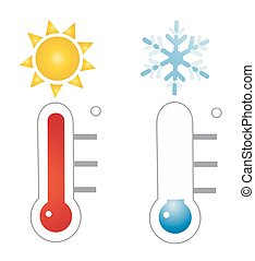vector, thermometer, illustratie, pictogram