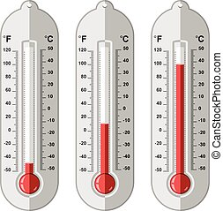 vector, thermometers, set