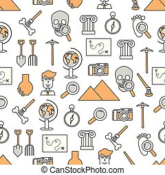 Vector thin line art archaeology seamless pattern