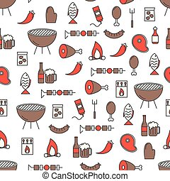 Vector thin line art barbeque seamless pattern