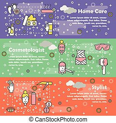 Vector thin line art beauty banner template set