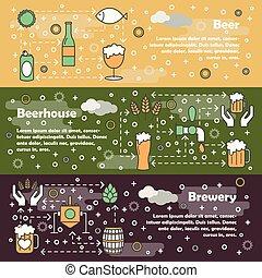 Vector thin line art beer web banner template set