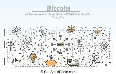 Vector thin line art bitcoin poster banner