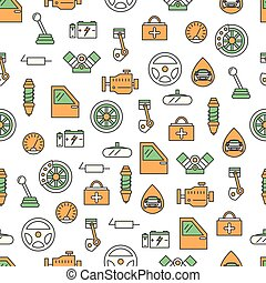 Vector thin line art car parts seamless pattern