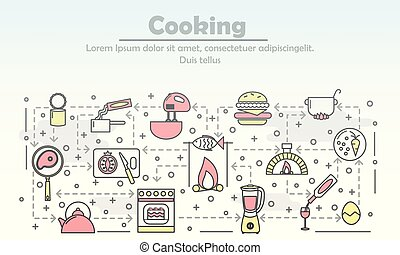 Cooking advertising vector poster banner template. Kitchen appliances, cooking utensils, food, wine thin line art flat style design icons for web banners, printed materials.