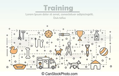 Vector thin line art dog training poster banner template