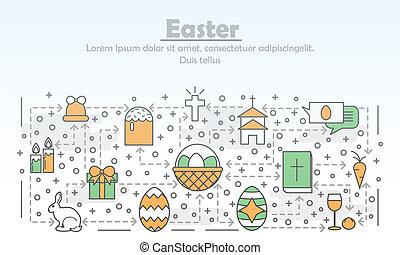 Vector thin line art Easter poster banner template