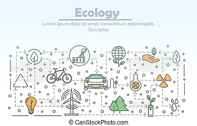 Vector thin line art ecology poster banner template -...