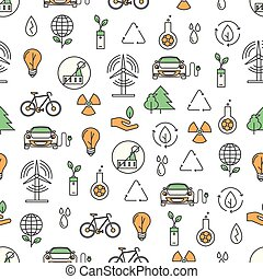 Vector thin line art ecology seamless pattern - Vector...