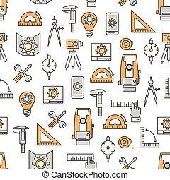 Vector thin line art engineer seamless pattern - Vector...