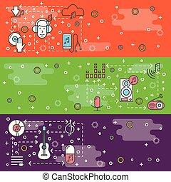 Vector thin line art music web banner template set
