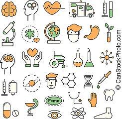 Vector thin line art style design medicine icons
