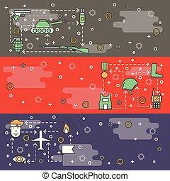 Vector thin line art war web banner template set