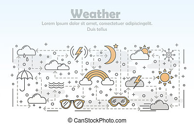 Vector thin line art weather poster banner template