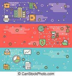Vector thin line art web banner template set