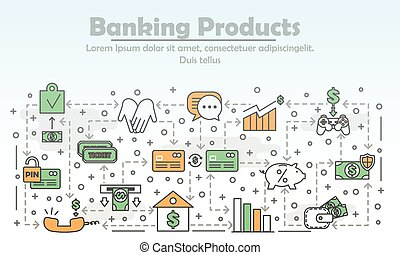 Vector thin line banking products poster banner template