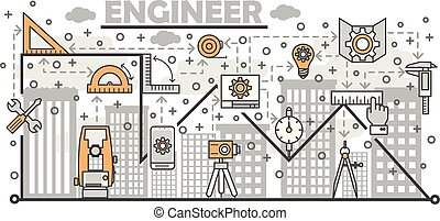 Vector thin line engineer poster banner template - Engineer...