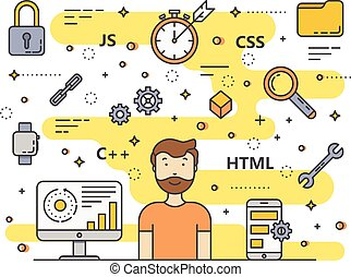 Vector thin line flat design web development, programming concept banner