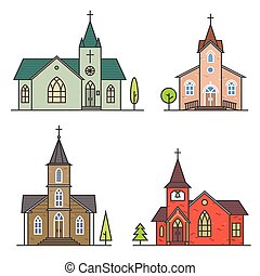Vector thin line icon church.