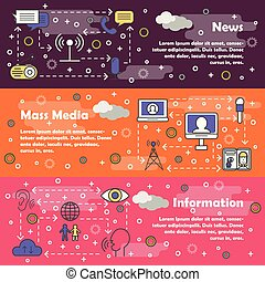 Vector thin line mass media web banner templates