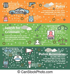 Vector thin line police web banner template set