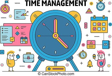 Vector thin line time management poster banner