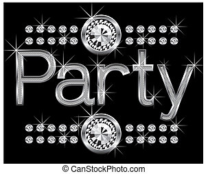 thin metal diamond word party - vector thin metal diamond ...