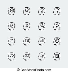 Vector thinking mini icons set