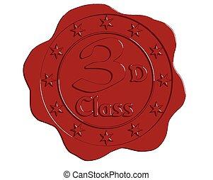 Vector Third Class Red Wax Seal