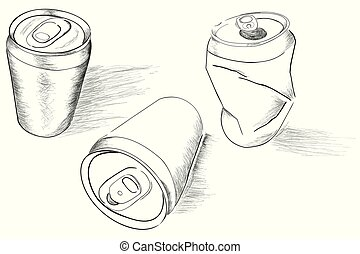 three perspective of doodle of soft drink can, with streak shadow