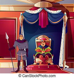 Vector throne room, ballroom with king, guard.