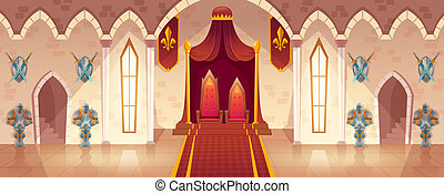 Vector throne room in medieval palace, castle hall