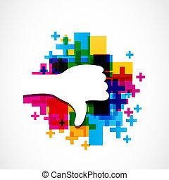 Vector thumb colorful dislike