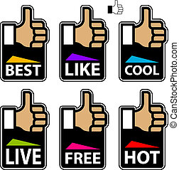 vector thumb up hand labels