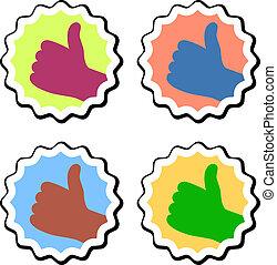 vector thumb up labels