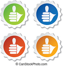vector thumb up rounded labels