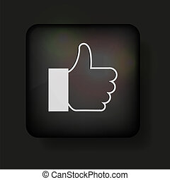 Vector thumbs up icon on black. Eps10