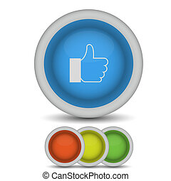 Vector thumbs up icon on white. Eps10