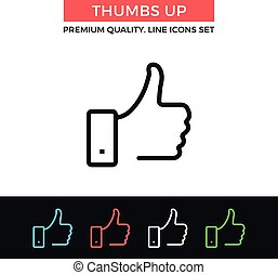 Vector thumbs up icon. Thin line icon