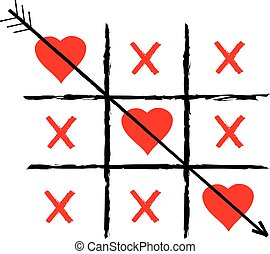 vector tic tac toe with red hearts and an arrow.