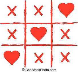 vector tic tac toe with red hearts.