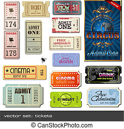 vector tickets - vector set: tickets in different styles
