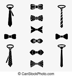 Vector tie and bow icons set