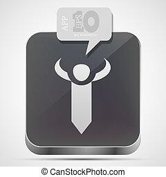 Vector tie app icon with gray bubble speech. Eps10