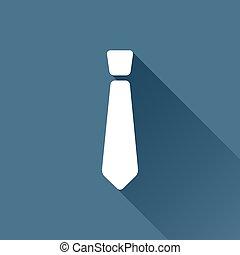 Vector tie icon - Vector white tie icon on dark background
