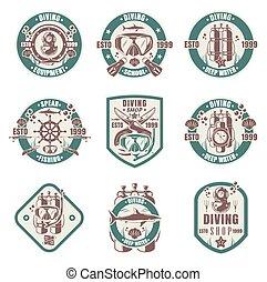 vector, tienda, conjunto, club, logotipo, buceo, aislado, escuela, ilustración, vendimia